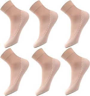 ACMEDE ソックス レディース 靴下 おしゃれ シースルーソックス ショートストッキング 靴下 綿の足の裏 滑り止め 超薄型 伸縮性 つま先補強 くるぶし丈 抗菌防臭 吸汗速乾 6足組 肌色
