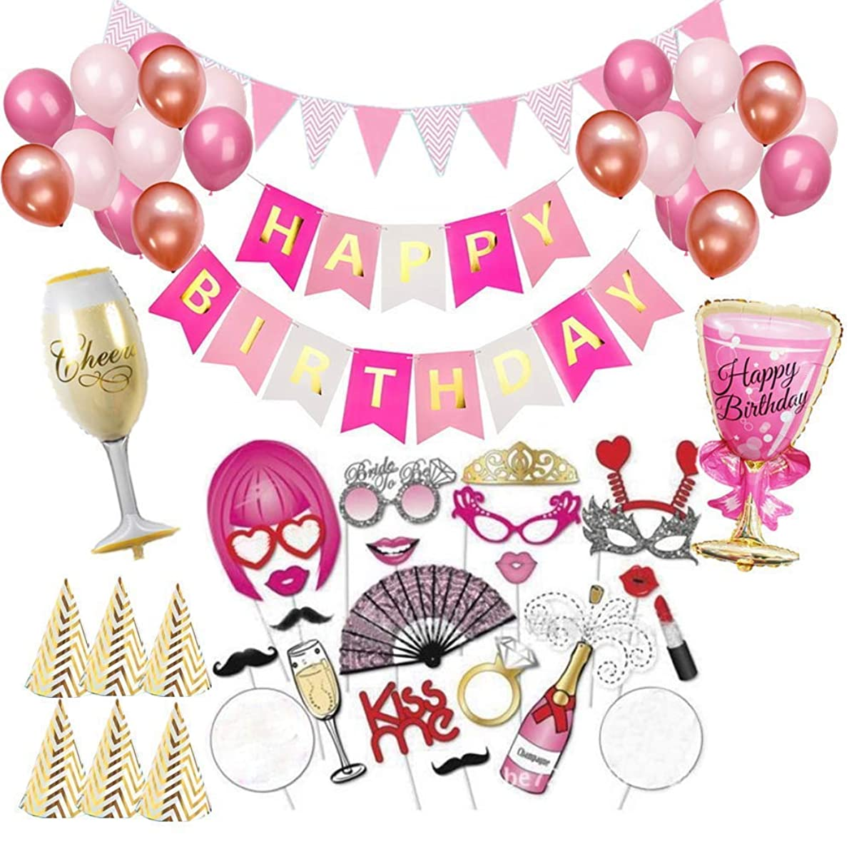 LEWOTE Happy Birthday Party Decoration Kit[75 Pcs][Include Happy Birthday Banner/Latex Balloons/Party Hats/Champagne Wine Balloons/Birthday Props for Photo Booth Stand]