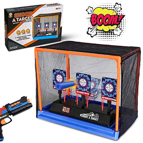 Electronic Shooting Target Scoring Auto Reset Digital Targets for Nerf Guns Toys with a Support Cage & Net,Ideal Toy for Kids