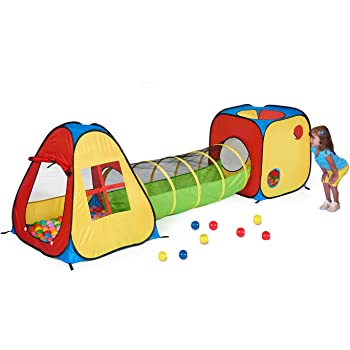 Utex 3 in 1 Pop Up Play Tent with Tunnel, Ball Pit for Kids, Boys, Girls, Babies and Toddlers, IndoorOutdoor Playhouse