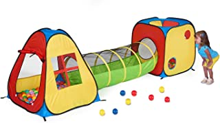 UTEX 3 in 1 Pop Up Play Tent with Tunnel, Ball Pit for Kids, Boys, Girls, Babies and..