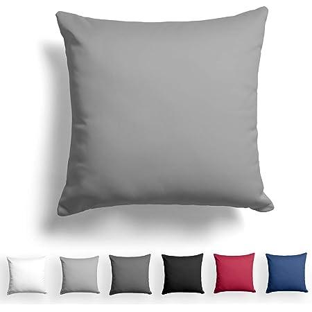 Alreya Mako Satin Taie d'oreiller 100% Coton - 60x60 cm Gris - avec Fermeture éclair YKK - Hypoallergénique sans Produits Chimiques
