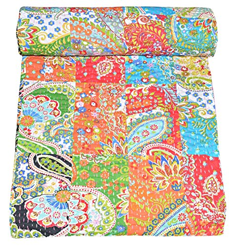 V Vedant Designs Indian Cotton Kantha Quilt Throw Blanket Bedspread Vintage Throw Gudari Cotton Handmade Kantha Quilt (Paisley Patchwork)
