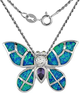 Sterling Silver Synthetic Opal Butterfly Necklace for Women Hand Inlay with CZ 1 1/8 inch
