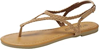 SANDALUP Flat Sandals for Women w Flannel Braided and Adjustable Metal Buckle