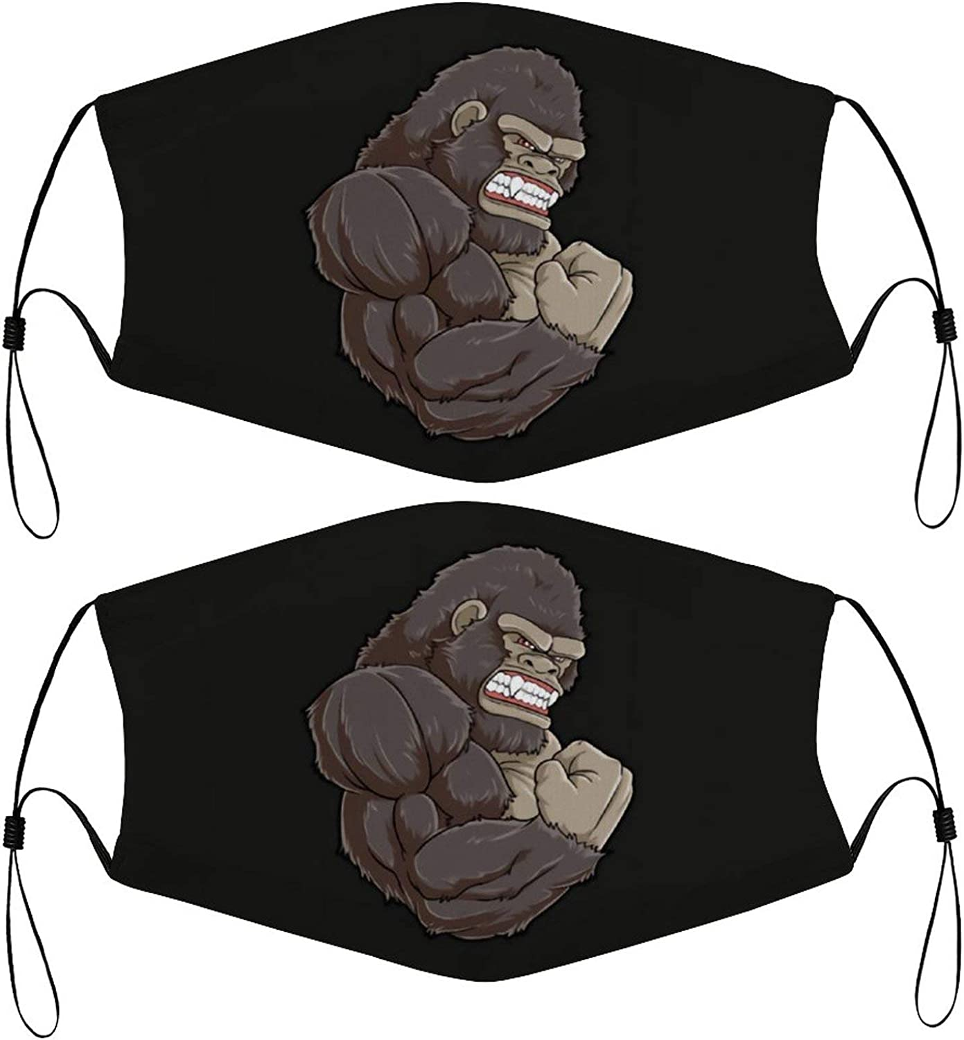 Gorilla at The Gym Kids Face Mask Set of 2 with 4 Filters Washable Reusable Adjustable Black Cloth Bandanas Scarf Neck Gaiters for Adult Men Women Fashion Designs