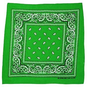 L&M 12Pcs Bandanas 100% Cotton Paisley Print Head Wrap Scarf Wristband  Green
