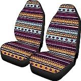 BIGCARJOB Colorful Stripe Seat Cover Baja Saddle Blanket Weave Universal Bucket Seat Cover Set of 2 Aztec Pattern