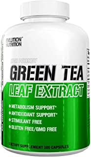 Evlution Nutrition Green Tea Leaf Extract Supplement with EGCG for Metabolism and Antioxidant Support* Stimulant Free, Gluten Free, 100 Servings