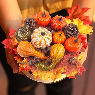 DomeStar Halloween Mini Artificial Pumpkins and Gourds Maple Leaves Pine Cones Acorns