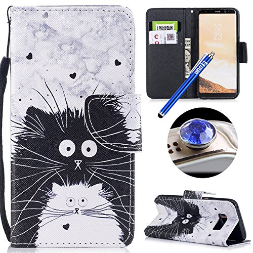 Etsue Handyhülle Leder Hülle für Samsung Galaxy S8 Tasche Leder Flip Case Brieftasche Schutzhülle Handytasche Hülle Bunt Retro Leder Schutzhülle Bookstyle Wallet Cover Klapphülle,Katze