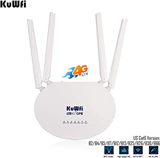 KuWFi Router 4G LTE, Cat6 300Mbps 4G Router with SIM Slot 4pcs Non-Detachable Antennas Mobile WiFi Hotspot 2 LAN Port up to 32 Users Work with T-Mobile AT&T
