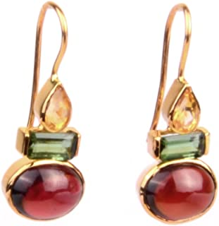 Gehna Yellow Gold and Garnet Drop Earrings