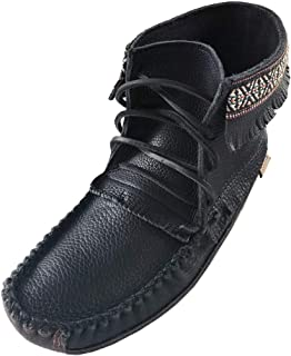 Men's Fringe and Braid Apache Earthing Grouding Moosehide Black Leather Sole Moccasins