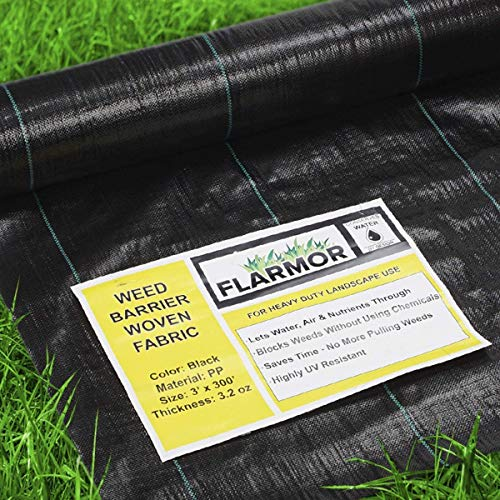 Premium Landscape Fabric Heavy Duty 12x100 Ft 3.2oz/108gsm Black - Woven Weed Barrier Landscape Fabric - Garden Fabric Roll - Weedblock for Garden, Flower Bed, Driveway, Drainage and Weed Prevention