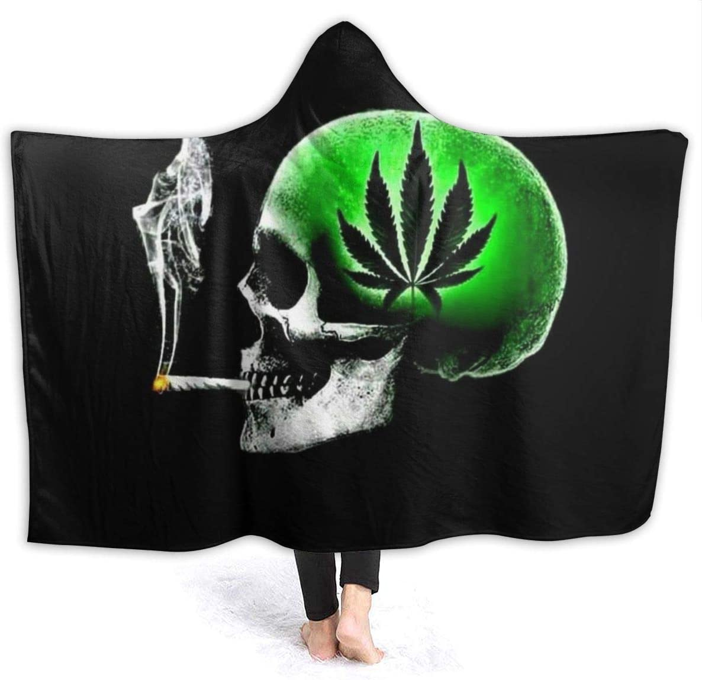 2021new shipping free Hooded Flannel Blanket Green Marijuana U Leaf Weed Smoking Skull 40% OFF Cheap Sale