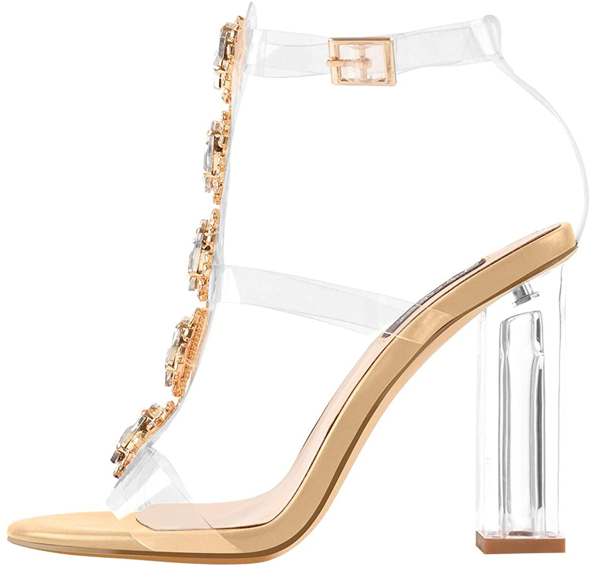 Yolkomo Women's Clear Strappy Gladiator Rhinestones Ankle Strap Sandals