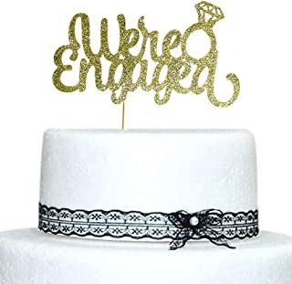 We're Engaged with Diamond Ring Cake Topper Gold Glitter for Wedding, Engagement, Bachelorette Party Decorations