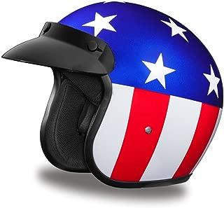 Daytona Helmets Motorcycle Open Face Helmet Cruiser- Captain America 100% DOT Approved