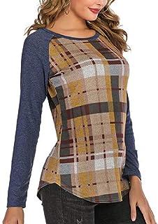 KLJR Womens Color Block Tunic Top Raglan Sleeve Plaid Print Crew Neck T Shirts