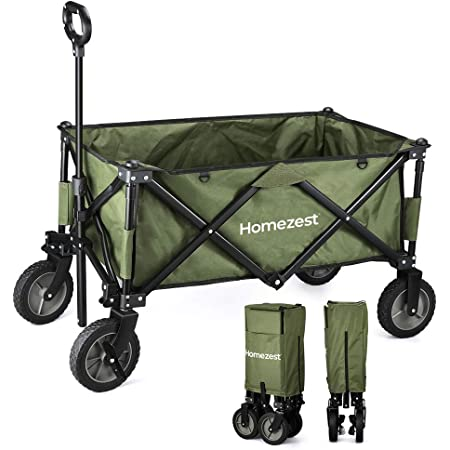 Homezest キャリーカート ワンタッチ収束式 タイヤロック付き 全パーツ交換&カスタム 丸洗い可 軽量 120L大容量 耐荷重100KGマルチキャリーワゴン コンパクト
