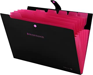 Skydue Portable Accordion Document File Folders Expanding Letter Organizer, 8 Pockets (Black)