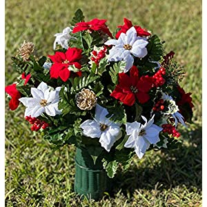 Deluxe Red & White Poinsettia Cemetery Vase Arrangement