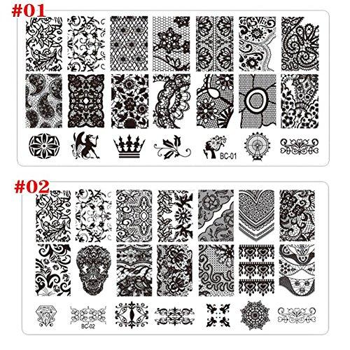 AIUIN 2 Stück Nagel Stempel Schablonen Nail Art Plates Stamping Platten Nagel Stamping Schablone Bildstempel (Style 1)