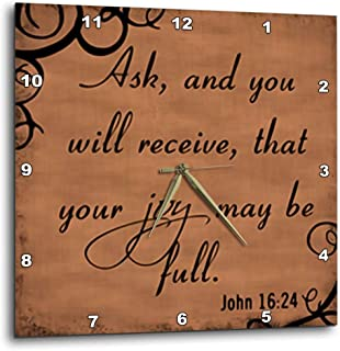 3dRose Bible Verse John 16-24 Brown Background Bible Christian Inspirational Saying - Wall Clock, 10 by 10-Inch (DPP_150076_1)