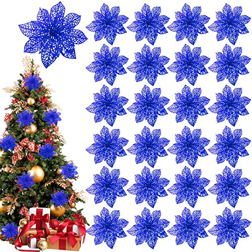 TURNMEON 24 Pack 6 Inch Christmas Glitter Poinsettia Artificial Silk Flowers Picks Christmas Tree Ornaments for Gold Christmas Tree Wreaths Garland Holiday Decoration (Blue)