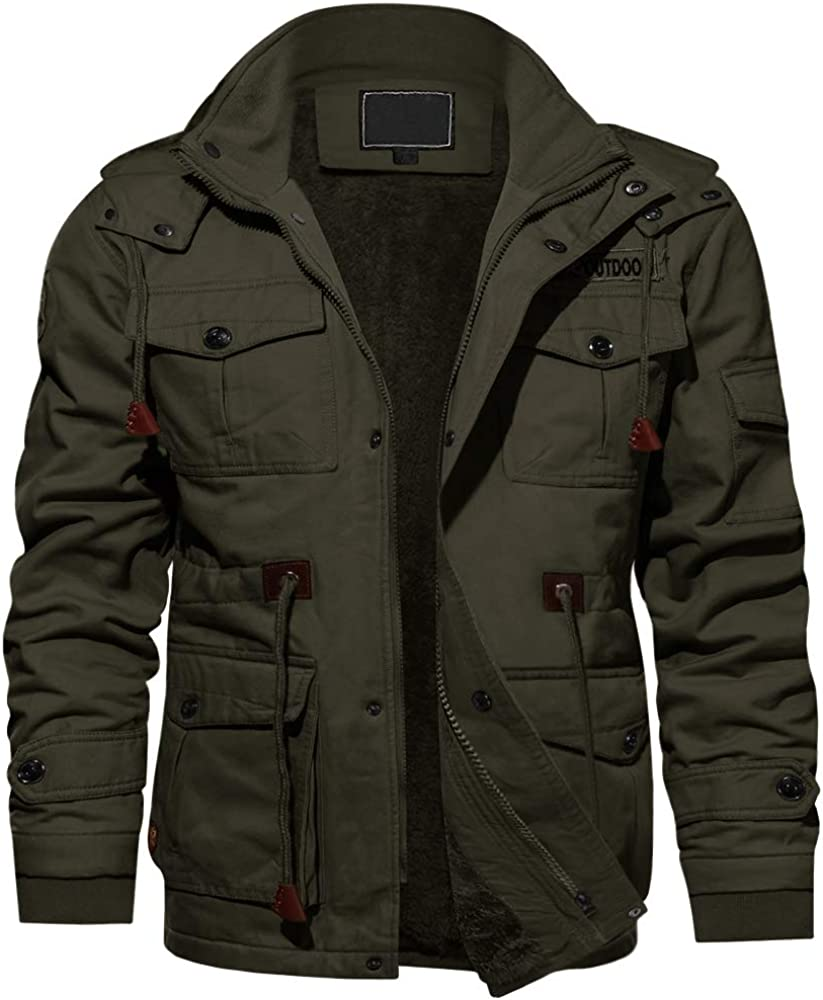 EKLENTSON Mens Cotton Casual Thicken Multi Pockets Military Jackets Outwear Winter Coat with Removable Hood