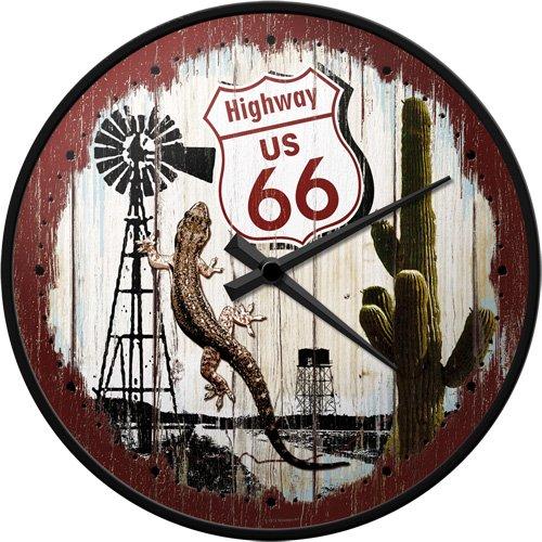 Nostalgic-Art 51044 US Highways - Highway 66 Desert, wandklok 31 cm