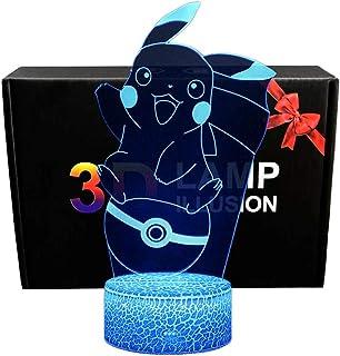 Luz de noche 3D Pokemon Pikachu iluminación de ilusión de visión LED para regalo de niños 7 Colores Cambian con Control Remoto lámparas de escritorio con lámpara de decoración