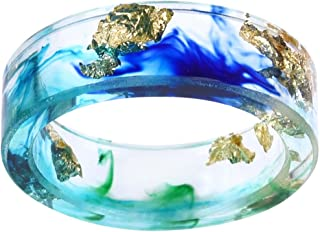 Jude Jewelers 8mm Ocean Style Transparent Plastic Resin Wedding Band Cocktail Party Ring