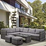 BTM Rattan Garden Furniture Garden Set 8 Corner Sofa Seater Outdoor Furniture With Coffee Table 2 Stools (Grey)