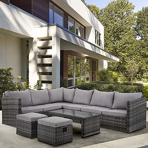 BTM Juego de muebles de jardín de ratán con 8 sillas, muebles de exterior con mesa de café, 2 taburetes (gris)