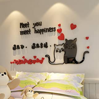 DEBRICKS 3D Wall Sticker Lovely Cartoon Cats Acrylic Wall Stickers for Kids Bedrooms DIY Background Wall Decal Art Home Decor
