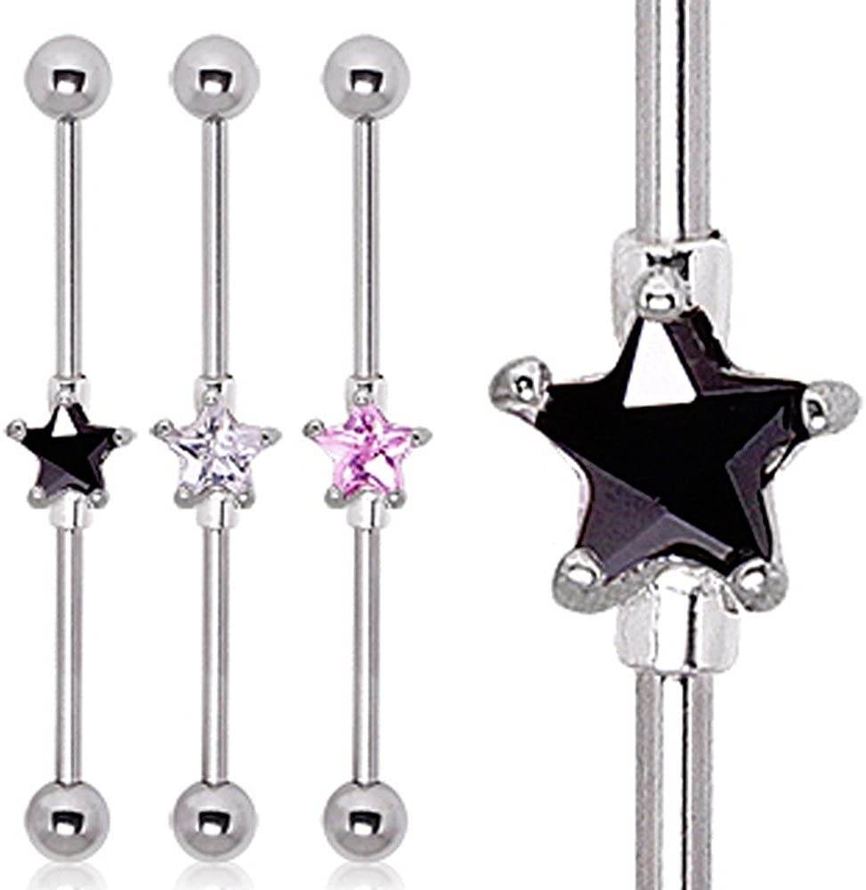 Covet Jewelry 316L Surgical Steel Prong Set Star CZ Industrial Barbell