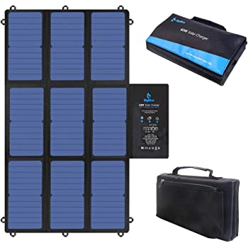 BigBlue 63W 19V Foldable Solar Charger Portable SunPower Solar Panel (Dual 5V USB+19V DC Output+ USB-C Port) for Laptop, Power Station, Tablet, iPad, iPhone, Acer, Asus, Dell, HP, 12V Boat/RV Battery