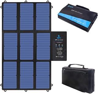 BigBlue 63W Cargador Solar Plegable, SunPower Panel Solar Portátil (2 * 5V USB+19V DC Salida+ USB-C Puerto) para Ordenador Portátil, Generador Portátil, 12V RV Batería