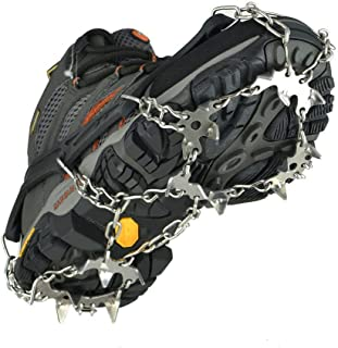 szlzhsm Crampons Universal Flexible Anti-Slip Ice Grips Snow Traction Cleats Ice Spikes Crampon with Stainless Steel Chain for Climbing Hiking