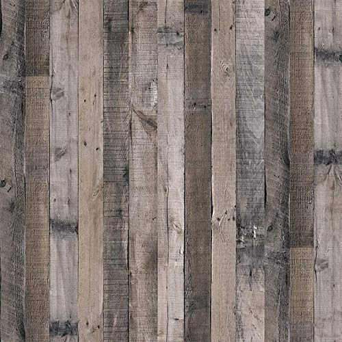 "Gray Wood Wallpaper Wood Peel and Stick Wallpaper 17.7""x 118.1""Faux Wood Plank Paper Wood Self Adhesive Removable Wall Decorative Reclaimed Wood Look Wallpaper Vinyl Film Shiplap Wood Panel Wallpaper"