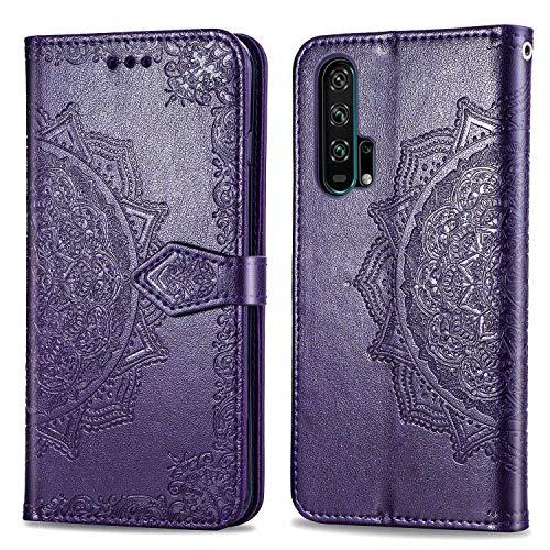 Bear Village Hülle für Huawei Honor 20 Pro, PU Lederhülle Handyhülle für Huawei Honor 20 Pro, Brieftasche Kratzfestes Magnet Handytasche mit Kartenfach, Violett