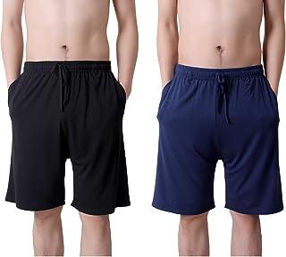 TEERFU Mens Twin Pack Pyjama Shorts Bottoms,Men's Sleepwear Lounge Wear Shorts Stretch Jersey Night Wear Modal Casual Jogg...
