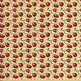 Lunarable Apple Stoff von The Yard, rote Äpfel, ganze und