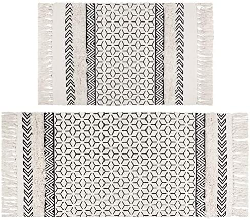 SHACOS Tufted Cotton Area Rugs with Tassels Set of 2 Cotton Throw Rug Runner Tufting Accent product image