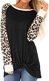 Loosebee Women Blouse O-Neck Leopard Patchwork T-Shirt Knits & Tees