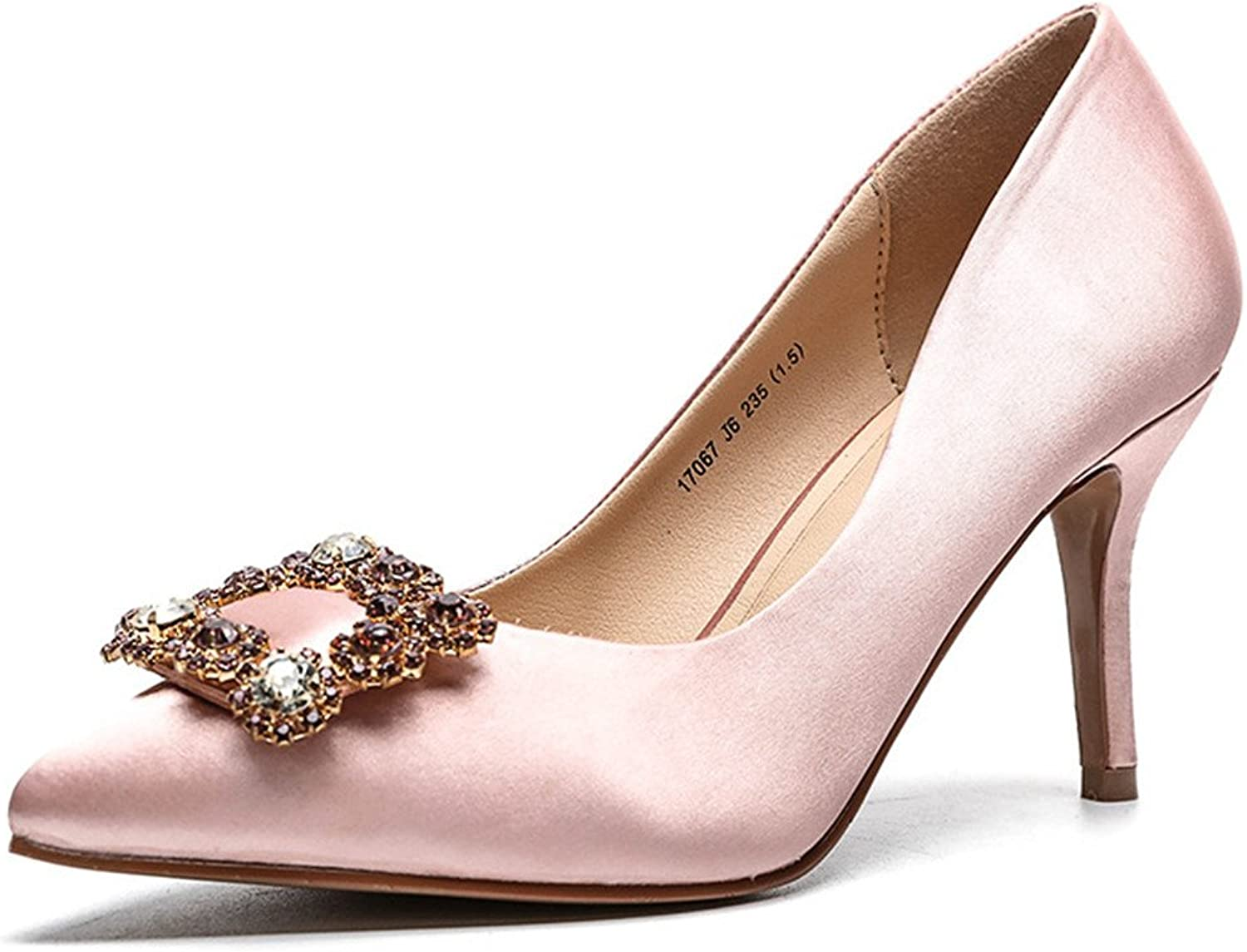 FORTUN Square Buckle Rhinestone Single shoes Women's high-Heeled shoes Pointed Toe