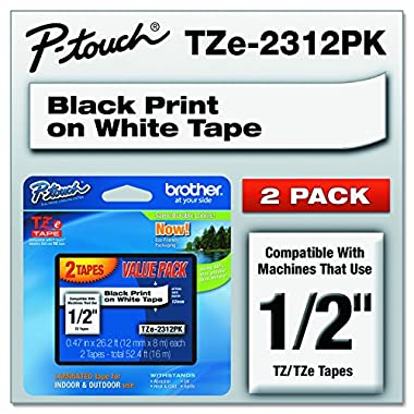 Brother Genuine P-touch, TZE2312PK, 1/2  (0.47 ) Standard Laminated P-Touch Tape, Black on White, Laminated for Indoor or Outdoor Use, Water Resistant, 26.2 Feet (8M), 2-Pack