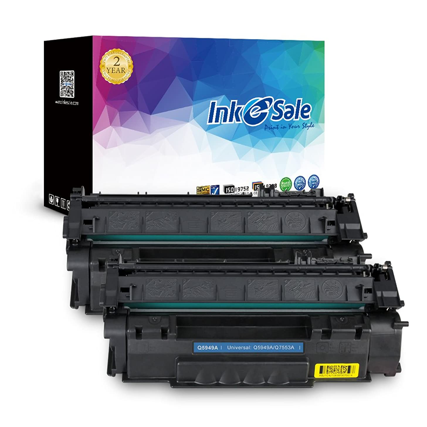 INK E-SALE New Compatible Toner Cartridge Replacement for HP 53A Q7553A 49A Q5949A, for use with HP LaserJet 1320 1320n 3390 P2015 P2015d P2015dn P2014 M2727 M2727nf MFP Printer Series (Black, 2 Pack)